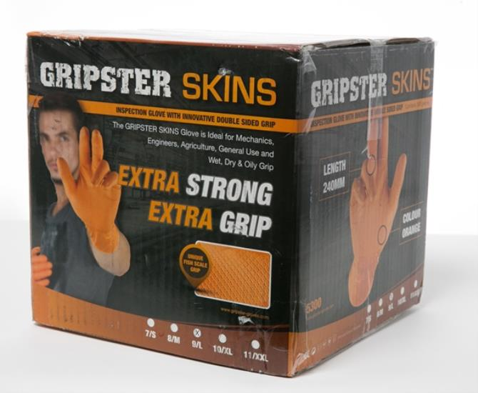 gripster skins orange nitrile gloves